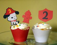 Fireman Dog & hydrant birthday cupcake toppers and wrappers - 12 sets