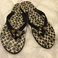 Čoach Flip flops Very cute! Signature C on Footbed and Coach on the bow . 9-10 sizing L Trades! Coach Shoes Sandals