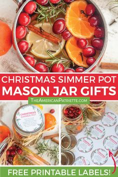 These Easy DIY Christmas simmer pot mason jar gifts are a perfect inexpensive homemade gift! Makes great hostess gifts, teacher gifts, and for coworkers! Homemade Potpourri, Potpourri Recipes, Simmering Potpourri, Stove Top Potpourri, Christmas Gifts For Coworkers, Christmas Gifts For Mom, Christmas Crafts, Christmas Ideas, Christmas Decorations