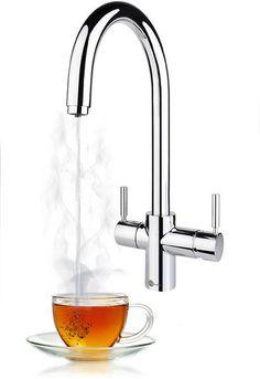J Shape Steaming Hot Kitchen Tap (Chrome). Kitchen Taps, Kitchen Flooring, Kitchen And Bath, Boiling Water Tap, Water Spout, First Kitchen, New Kitchen, Kitchen Ideas