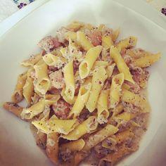 """""""Mi piace"""": 15, commenti: 3 - mariella sebastiani (@mariellasebi) su Instagram: """"#oggisimangiacosi😋😋 #garganelli al #pestodimelanzane con #mandorle #menta #gamberetti🍤🍤 e una…"""""""