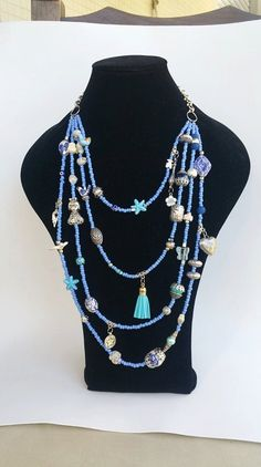 Statement Necklace layering necklace blue neckart by TresJoliePT Summer Necklace, Boho Necklace, Pendant Necklace, Tassel Jewelry, Beaded Jewelry, Jewelry Necklaces, Casual Chic Summer, Multi Layer Necklace, Chilling