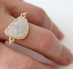 Druzy white ring 14kt gold filled by AnnieLoretta on Etsy