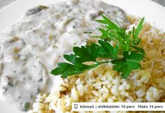 Gombaszósz bulgurral Vegetable Recipes, Risotto, Grains, Soup, Healthy Recipes, Dinner, Vegetables, Cooking, Ethnic Recipes