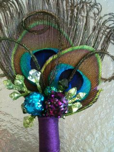 Peacock Wedding BoutonniereDouble eyedCurled at the by WaterMeNot, $12.00