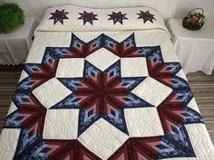 Broken Star Log Cabin Quilt -- magnificent skillfully made Amish Quilts from Lancaster (hs2279)