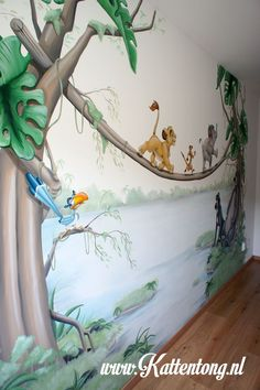 Mural painting: Jungle Book and Lion King made by Kattentong Decoratiewerke …, # … – Colorful Baby Rooms Baby Room Themes, Baby Boy Room Decor, Baby Room Design, Baby Boy Rooms, Lion King Room, Lion King Nursery, Lion King Baby, The Lion King, Disney Baby Rooms