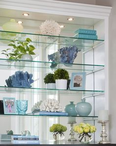 Beautiful bookshelf styling by Emily Ruddo of Armonia Decors! Love the coral! - Home Professional Decoration Glass Bookshelves, Bookcase With Glass Doors, Bookcases, Glass Shelves In Bathroom, Floating Glass Shelves, Mirror Glass, Mirrors, Glass Display Shelves, Bar Shelves