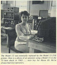 Sexist photo and caption from vintage 1963 HAM Radio / Morse Code Brochure. Woman operator in bikini