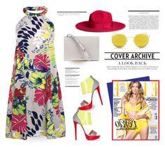 Flowers halter dress... by unamiradaatuarmario on Polyvore featuring moda, Boohoo, Christian Louboutin, H&M, Ray-Ban, Arche, minidress, floralprints, summer2015 and Colorfull
