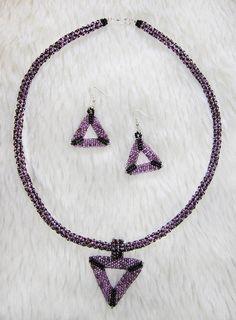 Dark purple necklace&earrings set by enlora on Etsy