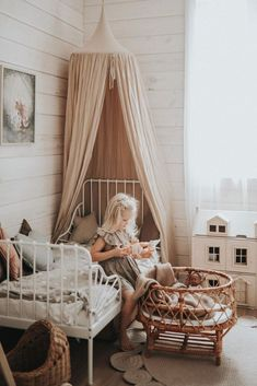 What a lovely kids room by And her little girl is wearing our Uniqua dress ❤ It& the perfect summer outfit for little girls! shirleybredal scandinaviankidsroom kidsroom kidsroomide is - Baby Bedroom, Girls Bedroom, Scandinavian Kids Rooms, Fantasy Bedroom, Baby Kind, Little Girl Rooms, Room Inspiration, Home Office, Kid Spaces