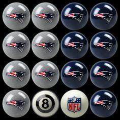 New England Patriots Billiard Ball Set - Awesome New England Patriots Billiard Ball Set on sale. Home and away colors plus a NFL eight ball and cue ball. The New England Patriots Billiard Ball Set makes a great gift for any NFL fan. New England Patriots Home, New England Patriots Merchandise, Billiard Pool Table, Billiards Pool, Go Pats, Patriots Football, Detroit Lions, Team Logo, Full Set