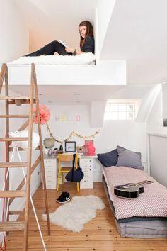 Youth room ideas: How to design a youth room - Kinderzimmer – Babyzimmer – Jugendzimmer gestalten - Kinderzimmer Ideen Cute Teen Rooms, Cute Girls Bedrooms, Awesome Bedrooms, Teenage Bedrooms, Small Teen Bedrooms, Cool Rooms For Teenagers, Small Teen Room, Tiny Bedrooms, Small Loft