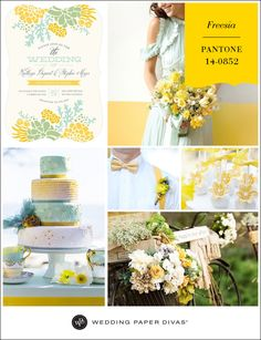 If you're planning a Spring or Summer wedding, this week's color will put you in the right mindset. Pantone Freesia is a fresh, sunny yellow, that pairs well with pastel shades like mint and seafoam.
