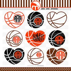 Basketball Monogram Frames SVG / DXF / Studio3 Cut by MoonMinted