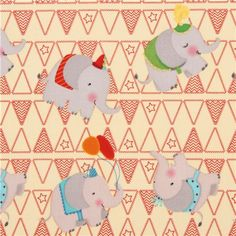 beigecircus elephant animal fabric USA Circus Day Elephants 2
