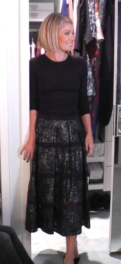 Kelly Ripa wore this Neiman Marcus outfit. Top from Theory, and Skirt from Rebecca Taylor.