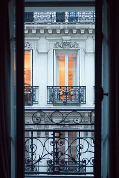 Paris Window at Dusk. Paris Evening View Paris Window at Dusk.