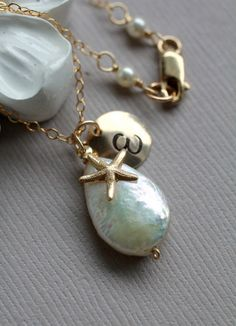 Personalized Beach Wedding Necklace! $38.50 - 14k gold fill and Freshwater Pearl