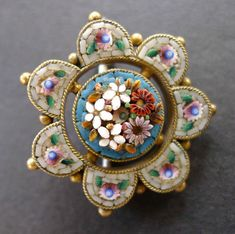 Micro Mosaic Flower Brooch Pin 1860's
