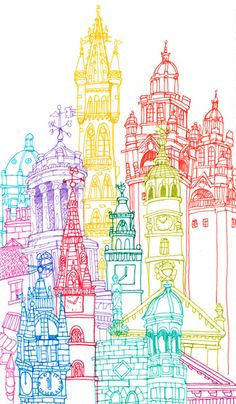 AQA A2 themes - Towering Structures www.dunottarschool.com Glasgow Towers Art Print by Cheism - rainbow color architecture drawing