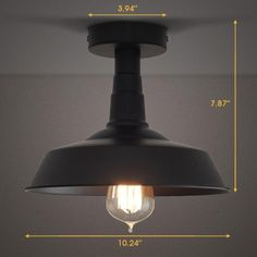 1 Light Semi-Flush Ceiling Fixture in Black