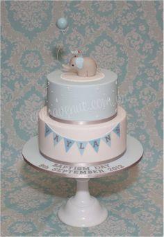 Baby Elephant Cake in Blue - by CakeAvenue @ CakesDecor.com - cake decorating website