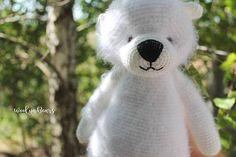 Items similar to Mr White - cute fluffy crochet bear on Etsy Crochet Bear, Mammals, Teddy Bear, Dolls, Cats, Children, Handmade Gifts, Prints, Amigurumi