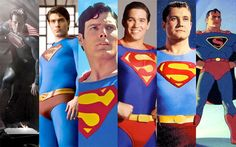 Six generations of Supermen. From left to right, Henry Cavill (in the upcoming Man of Steel movie), Brandon Routh (Superman Returns), Christopher Reeve (Superman: The Movie), Dean Cain (Lois and Clark: The New Adventures of Superman), George Reeves (Adventures of Superman), and the Fleischer Brothers Superman from the 1940s cartoons.