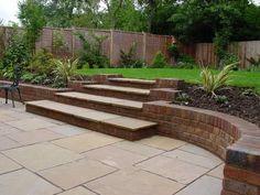 Steps and paving detail by Matt Nichol Garden Design. Landscaping Retaining Walls, Garden Paving, Backyard Landscaping, Back Gardens, Small Gardens, Outdoor Gardens, Patio Steps, Garden Stairs, Sloped Garden