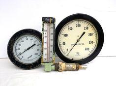 Vintage brass pressure gauges perfect for steampunk repurposing. #steampunk