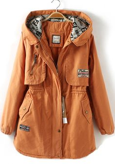 Orange Plain Pockets Zipper Cotton Blend Padded Coat