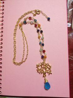 Collar piedra semipreciosa colores facetada y dije árbol de la vida oro con gota cristal aqua