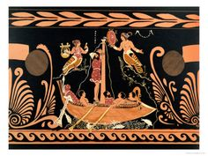 Ulysses and the Sirens, Illustration from an Antique Greek Vase  greek idea's  -illustrations
