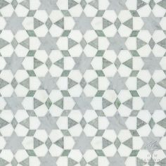 Medina, a natural stone waterjet mosaic shown in Ming Green, Carrara polished and Thassos honed marbles, is part of the Miraflores Collection by Paul Schatz for New Ravenna Mosaics. Concept Board colorway CB1314PS