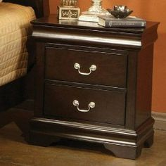 Louis Philippe night stand in cappuccino finish with hidden jewelery drawer