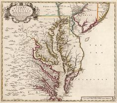 Antique map of Virginia and Maryland from 1719