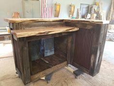 Barnwood bar with live edge Cedar tops and barn tin sides