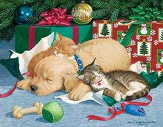 """""""TOO MUCH FUN"""" Original Acrylic Painting by Persis Clayton Weirs– Golden Retriever Puppy and Exhausted Kittens Sleeping Under Christmas Tree Looking at the ripped up packages and toys lying around it looks like they've had too much fun."""