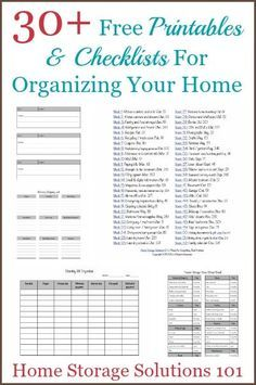 Over 30 free printables and checklists for organizing your home {courtesy of Home Storage Solutions organized/Journalling/Declutter/ Do It Yourself Organization, Binder Organization, Household Organization, Organizing Your Home, Organising, Household Binder, Household Notebook, Organizing Paperwork, Organizing Tips