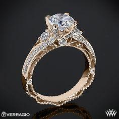 Rose Gold Verragio Bead-Set Knife Edge Diamond Engagement Ring