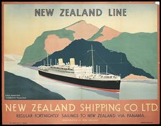 Vintage travel poster for New Zealand Line shipping company Ltd with ship navigating Panama Canal - Stock Image Tarzan, History Posters, Vintage Boats, Railway Posters, Panama Canal, Bus Travel, Nautical Art, Poster Ads, New Zealand Travel