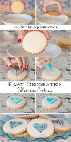 These cookies are not only delicious and look like they come from a fine bake-sh. - These cookies are not only delicious and look like they come from a fine bake-sh. Sugar Cookie Icing, Iced Sugar Cookies, Sugar Cookies Recipe, Iced Shortbread Cookies, Royal Icing Cookies, Valentines Day Cookies, Holiday Cookies, Birthday Cookies, Valentines Baking