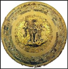 Tomb of King Philip II (Philipos) - The Shield, made of Gold and Ivory found in pieces in one of the corners of the tomb. It took five years of high specialized toil to reassemble the countless bits. Varangian Guard, Greek Artifacts, Macedonia Greece, Minoan, Alexander The Great, Old Art, Ancient Civilizations, Ancient Greece, Religious Art