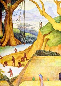 Buscadores de oro, detalle del mural Cultura zapoteca, arte plumario y orfebrería, 1942. Diego Rivera