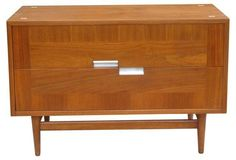 Midcentury Walnut Chest w/ X Inlays