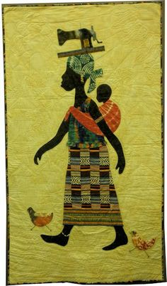 My Lady of West Africa by Shirley M. Holmes Love this Patch Quilt, Applique Quilts, Africa Art, West Africa, African Quilts, Quilted Wall Hangings, Quilt Stitching, Easy Quilts, Tribal Art