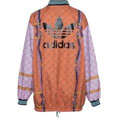ADIDAS X MARY KATRANTZOU Crepe Match Orange Multi Patterned jersey... ($315) ❤ liked on Polyvore featuring jackets, coats & jackets, orange sweater, red sweater, jersey tops, orange top and pattern tops