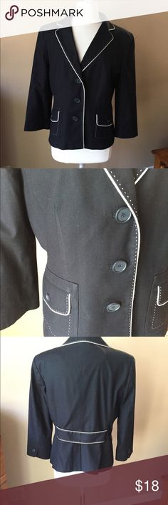 Ann Taylor Jacket Black with White Trim Nice jacket, lined. Shown with Size 14 New York & Co dress ($8) available under separate listing. Fabric tags shown in photo. Shown on Size 6/8 mannequin (mannequin measures 37-26-37.) 👠👗👜 Check out $6 section of closet, before sold items. All $6 items final price unless bundled. 15% bundle discount. 🚫NO MODELING 🚫NO TRADES Ann Taylor Jackets & Coats Blazers